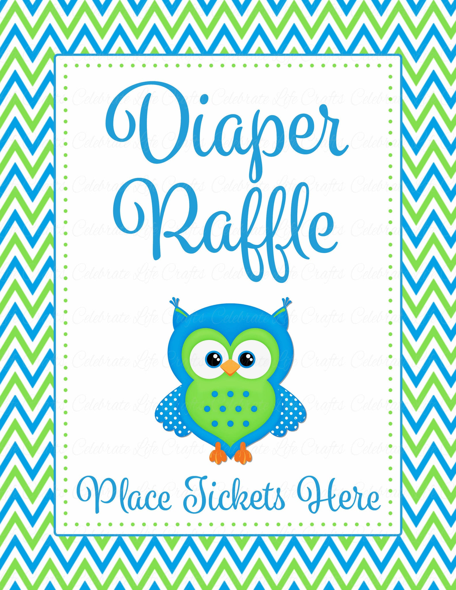 Diaper Raffle Tickets for Baby Shower - Owl Baby Shower Theme for ...