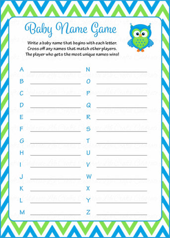 Baby Name - Printable Download - Blue & Green Baby Shower Game - B2002