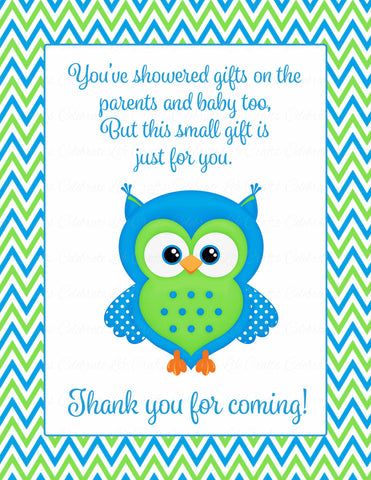 Thank You Favor Sign - Printable Download - Blue & Green Baby Shower Decorations - B2002