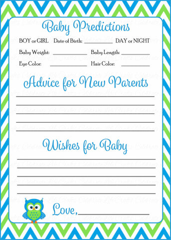 Prediction & Advice Cards - Printable Download - Blue & Green Baby Shower Activity - B2002
