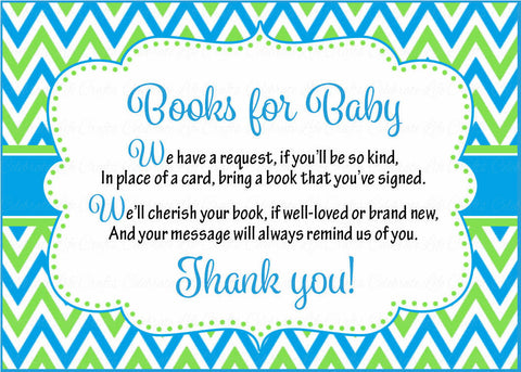 Books for Baby Cards - Printable Download - Blue & Green Baby Shower Invitation Inserts - Blue & Green - B2002