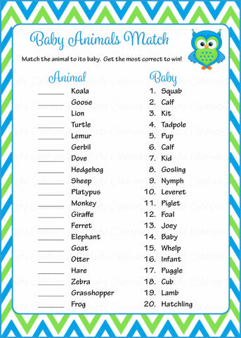 Baby Animals Match Game - Printable Download - Blue & Green Baby Shower Game - B2002
