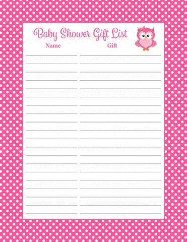 Baby Shower Gift List Set - Printable Download - Pink Polka Baby Shower Decorations - B2003