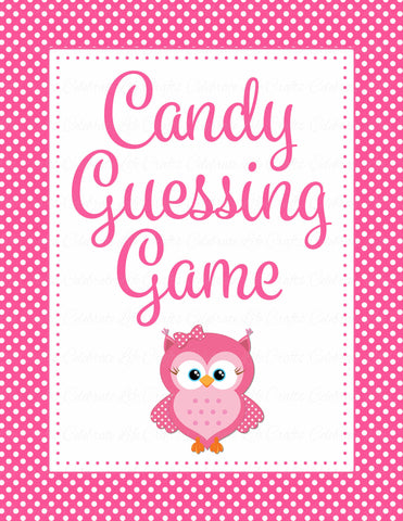 Candy Guessing Game - Printable Download - Pink Polka Baby Shower Game - B2003