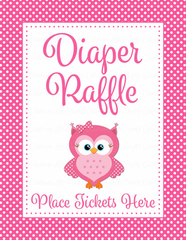 Diaper Raffle Tickets - Printable Download - Pink Polka Baby Shower Invitation Inserts - B2003