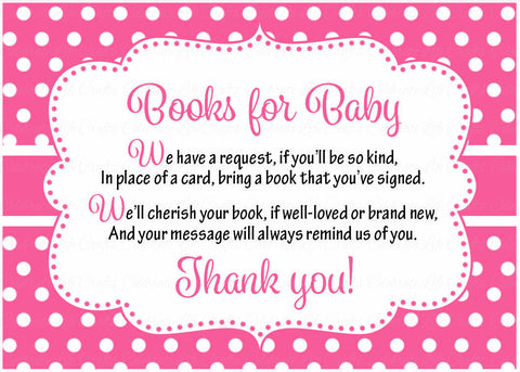Books for Baby Cards - Printable Download - Pink Polka Baby Shower Invitation Inserts - Pink Polka - B2003
