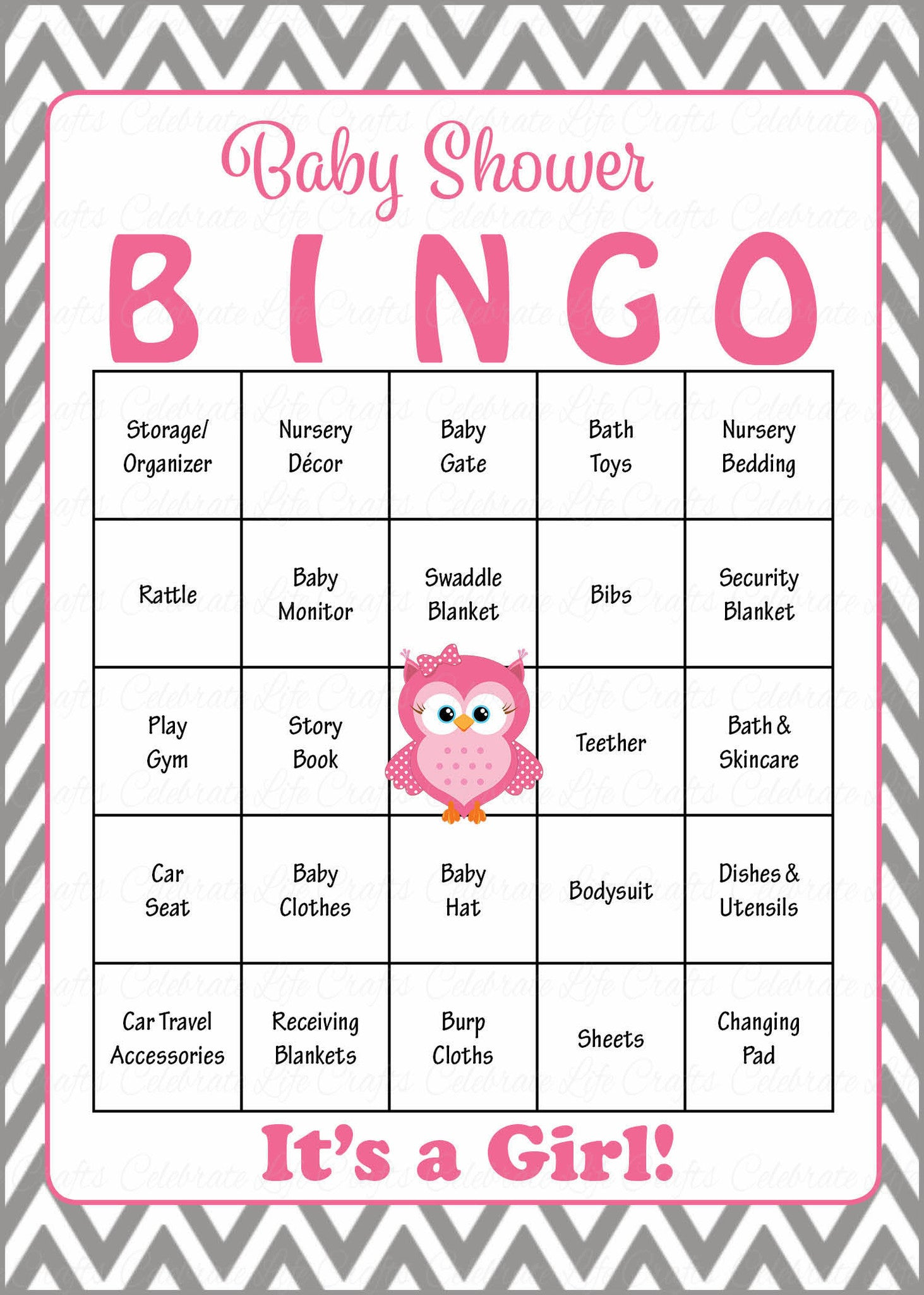 Owl baby shower game download for girl baby bingo celebrate life owl baby bingo cards printable download prefilled baby shower game for girl pink gray solutioingenieria Gallery