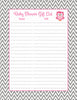 Baby Shower Gift List Set - Printable Download - Pink & Gray Baby Shower Decorations - B2004