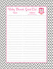 Baby Shower Guest List Set - Printable Download - Pink & Gray Baby Shower Decorations - B2004