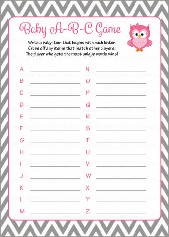 Baby ABC Game - Printable Download - Pink & Gray Baby Shower Game - B2004