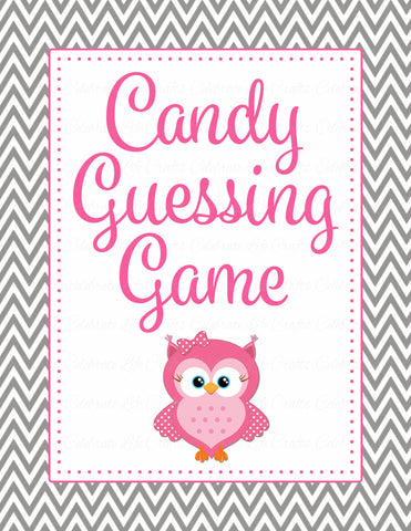 Candy Guessing Game - Printable Download - Pink & Gray Baby Shower Game - B2004
