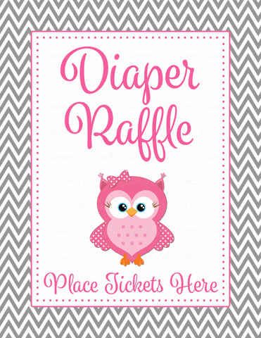 Diaper Raffle Tickets - Printable Download - Pink & Gray Baby Shower Invitation Inserts - B2004