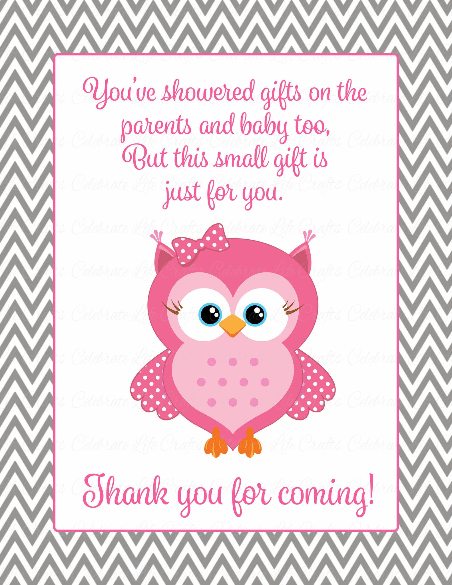 Thank You Favor Sign Printable Download Pink Gray Baby Shower Decorations B2004