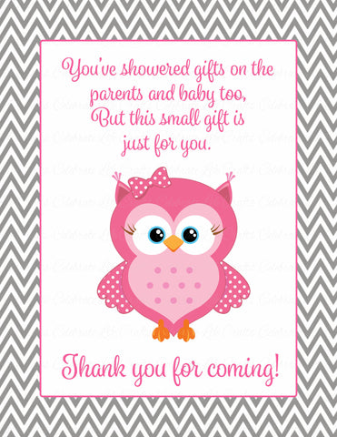 Thank You Favor Sign - Printable Download - Pink & Gray Baby Shower Decorations - B2004