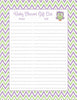 Baby Shower Gift List Set - Printable Download - Purple & Green Baby Shower Decorations - B2005