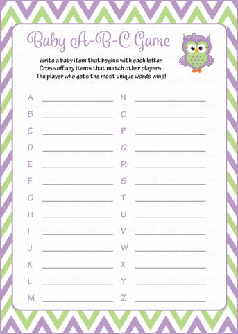 Baby ABC Game - Printable Download - Purple & Green Baby Shower Game - B2005