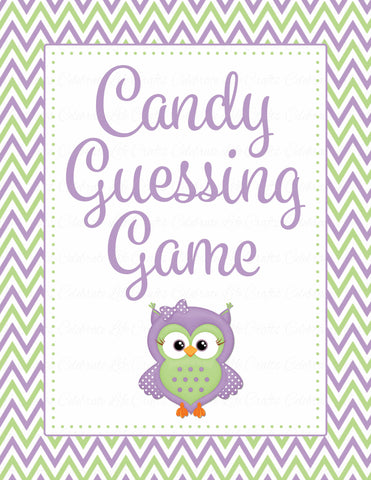 Candy Guessing Game - Printable Download - Purple & Green Baby Shower Game - B2005