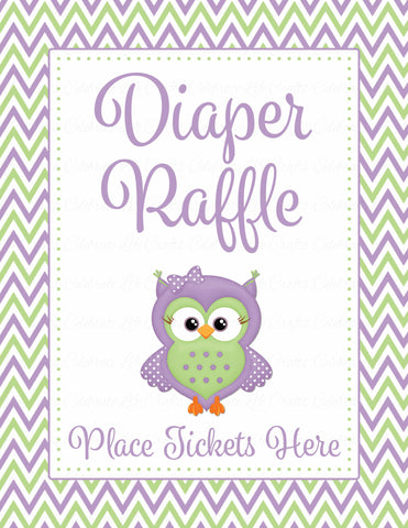 Diaper Raffle Tickets - Printable Download - Purple & Green Baby Shower Invitation Inserts - B2005
