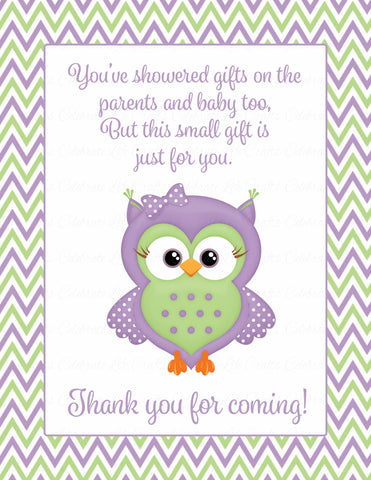 Thank You Favor Sign - Printable Download - Purple & Green Baby Shower Decorations - B2005