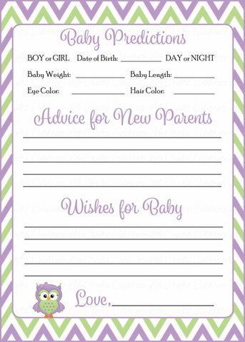Prediction & Advice Cards - Printable Download - Purple & Green Baby Shower Activity - B2005