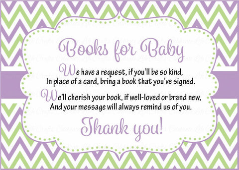 Books for Baby Cards - Printable Download - Purple & Green Baby Shower Invitation Inserts - Purple & Green - B2005