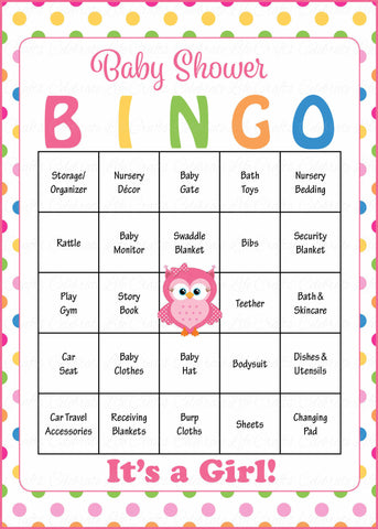 Owl Baby Bingo Cards - Printable Download - Prefilled - Baby Shower Game for Girl - Rainbow Polka