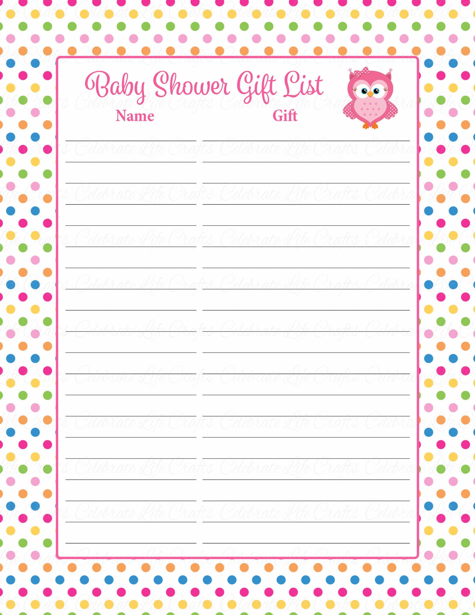 Baby Shower Gift List Set - Printable Download - Rainbow Polka Baby Shower  Decorations - B2009