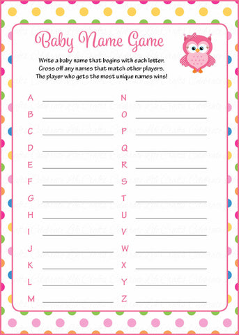 Baby Name - Printable Download - Rainbow Polka Baby Shower Game - B2009