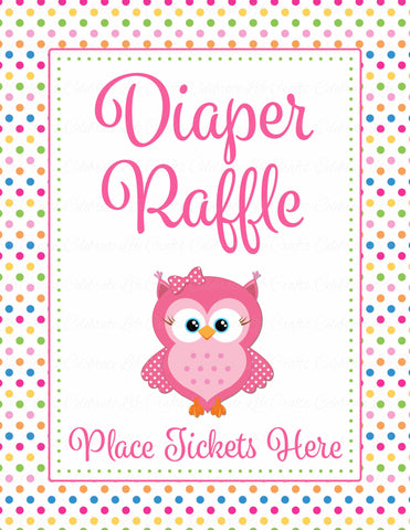 Diaper Raffle Tickets - Printable Download - Rainbow Polka Baby Shower Invitation Inserts - B2009
