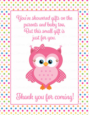 Thank You Favor Sign - Printable Download - Rainbow Polka Baby Shower Decorations - B2009