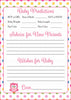 Prediction & Advice Cards - Printable Download - Rainbow Polka Baby Shower Activity - B2009