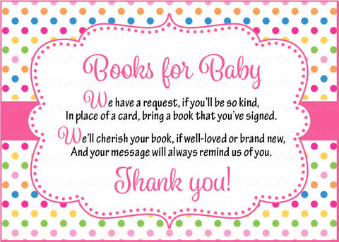 Books for Baby Cards - Printable Download - Rainbow Polka Baby Shower Invitation Inserts - Rainbow Polka - B2009