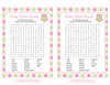 Baby Word Search - Printable Download - Pink & Green Baby Shower Game - B2010