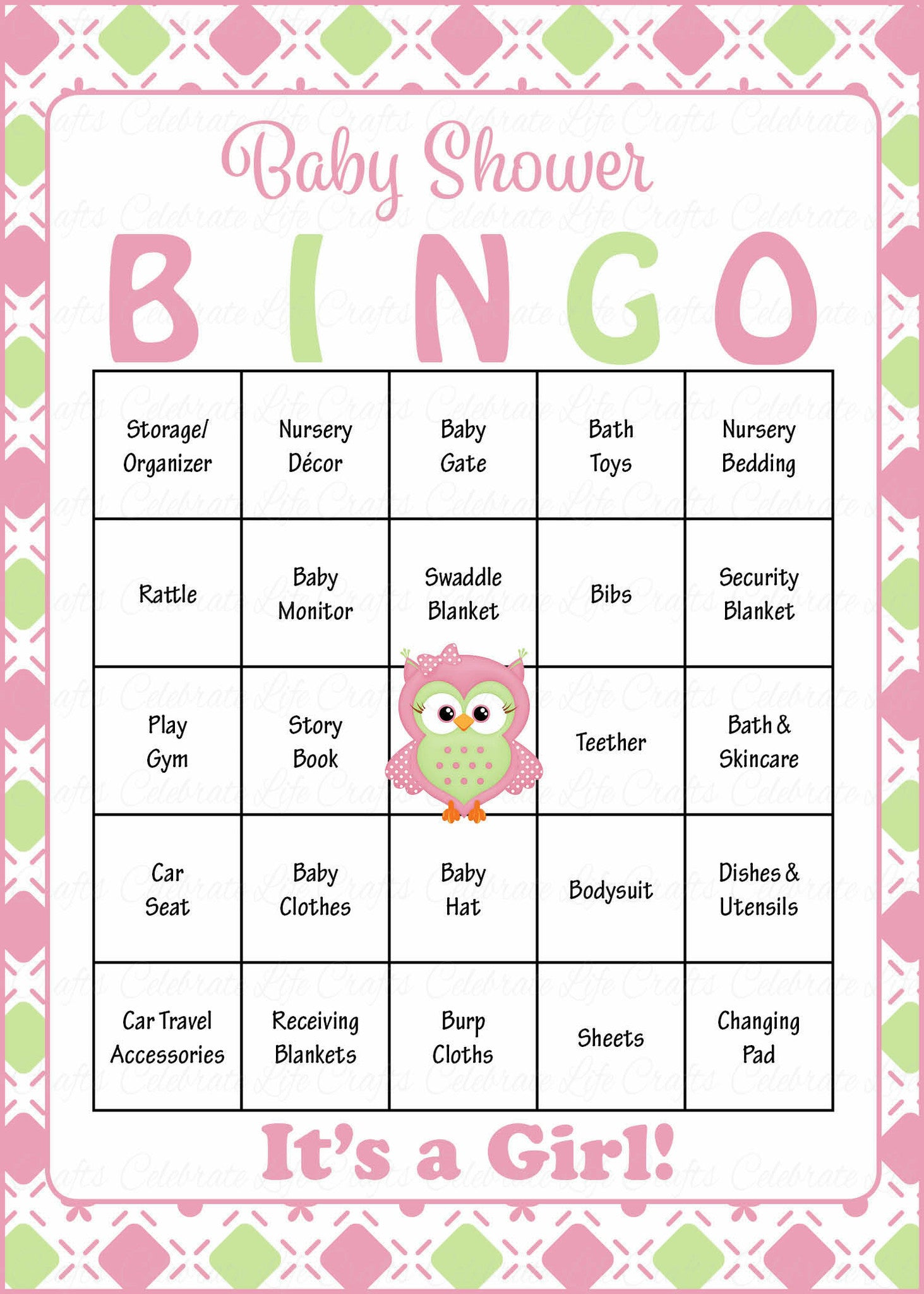 picture relating to Baby Bingo Printable known as Owl Child Bingo Playing cards - Printable Down load - Prefilled - Little one Shower Video game for Lady - Red Inexperienced