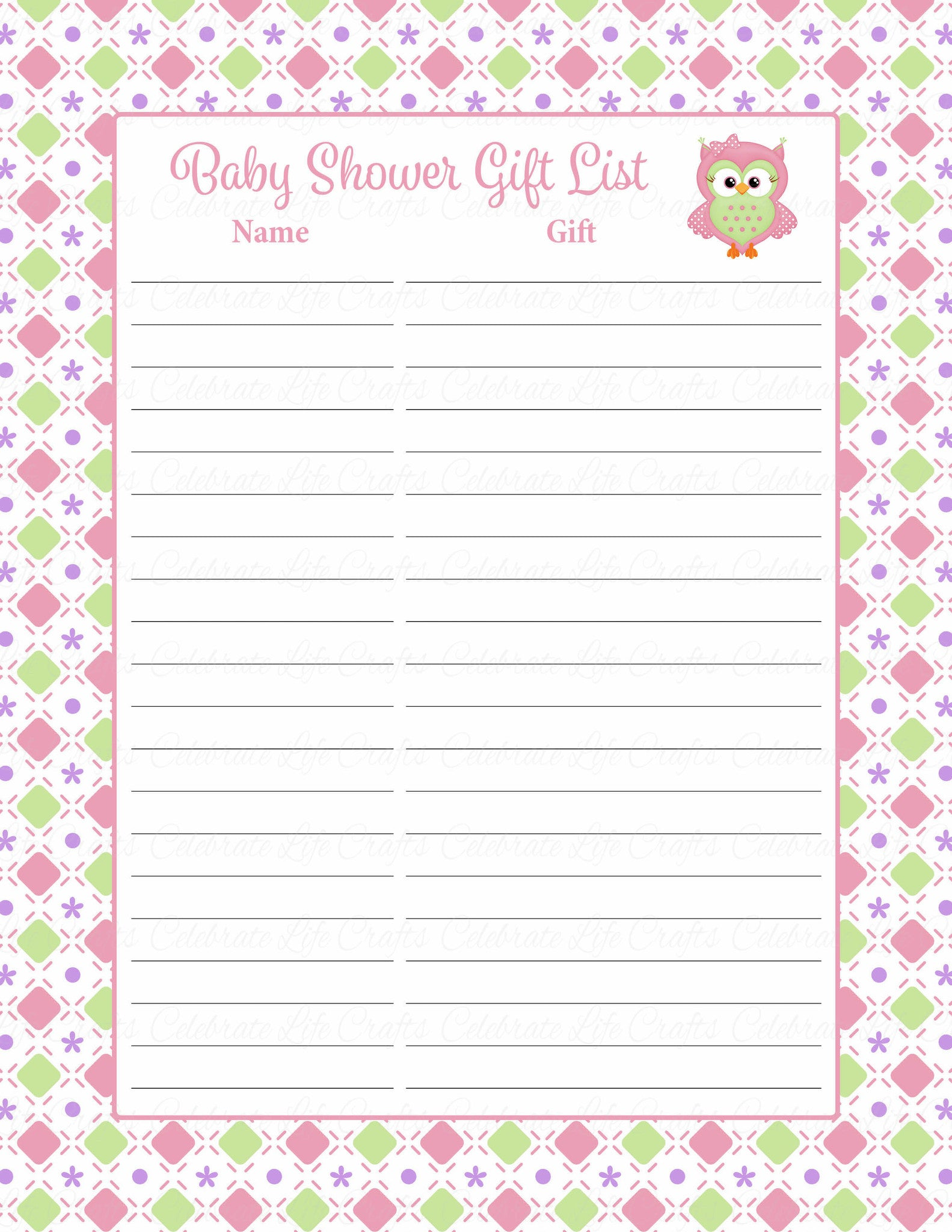 Baby Shower Gift List Set Printable Download Pink Green Baby Shower Decorations B2010