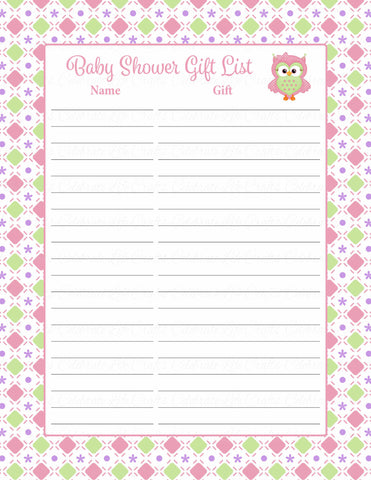 Baby Shower Gift List Set - Printable Download - Pink & Green Baby Shower Decorations - B2010