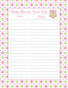 Baby Shower Guest List Set - Printable Download - Pink & Green Baby Shower Decorations - B2010