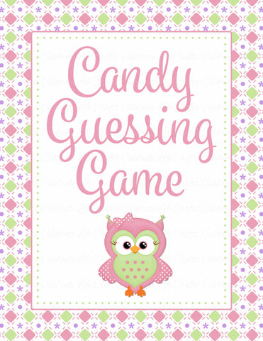Candy Guessing Game - Printable Download - Pink & Green Baby Shower Game - B2010