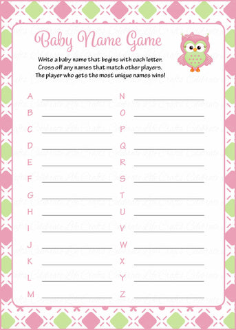Baby Name - Printable Download - Pink & Green Baby Shower Game - B2010