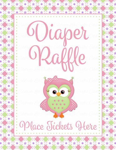Diaper Raffle Tickets - Printable Download - Pink & Green Baby Shower Invitation Inserts - B2010