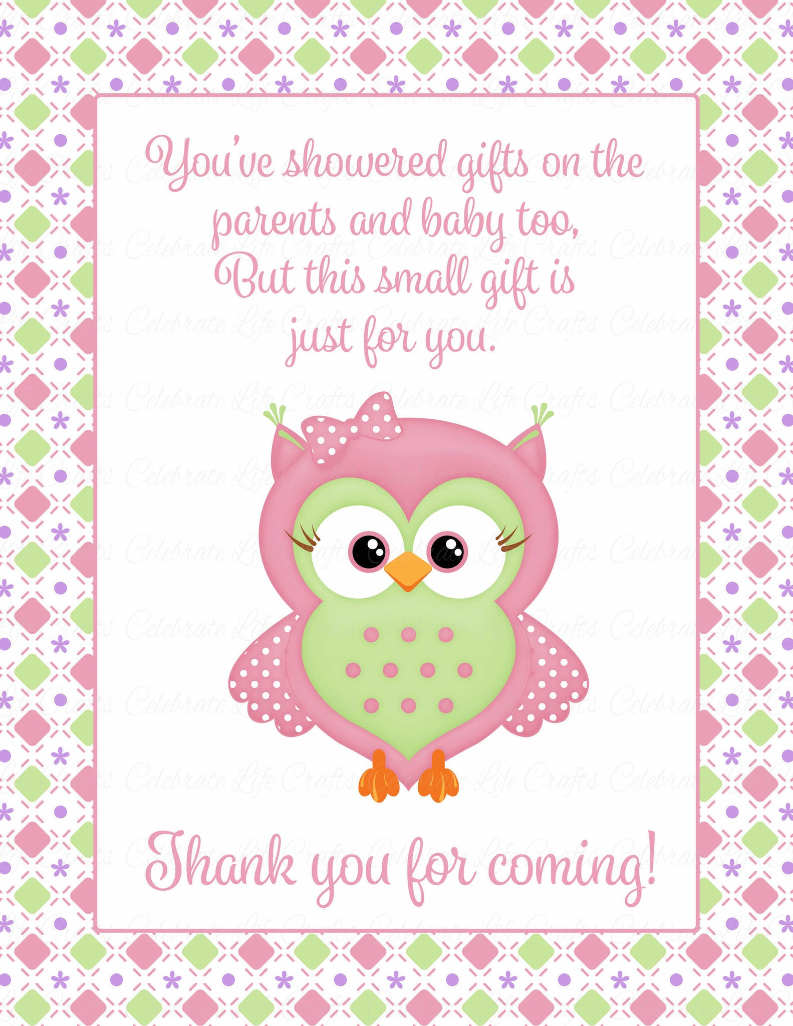 Thank You Favor Sign Printable Download Pink Green Baby Shower Decorations B2010