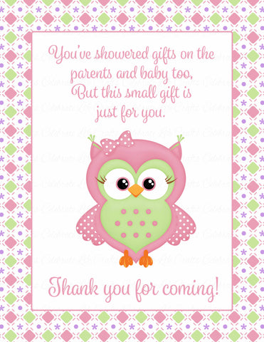 Thank You Favor Sign - Printable Pink & Green Baby Shower Decorations - B2010