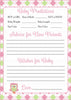 Prediction & Advice Cards - Printable Download - Pink & Green Baby Shower Activity - B2010