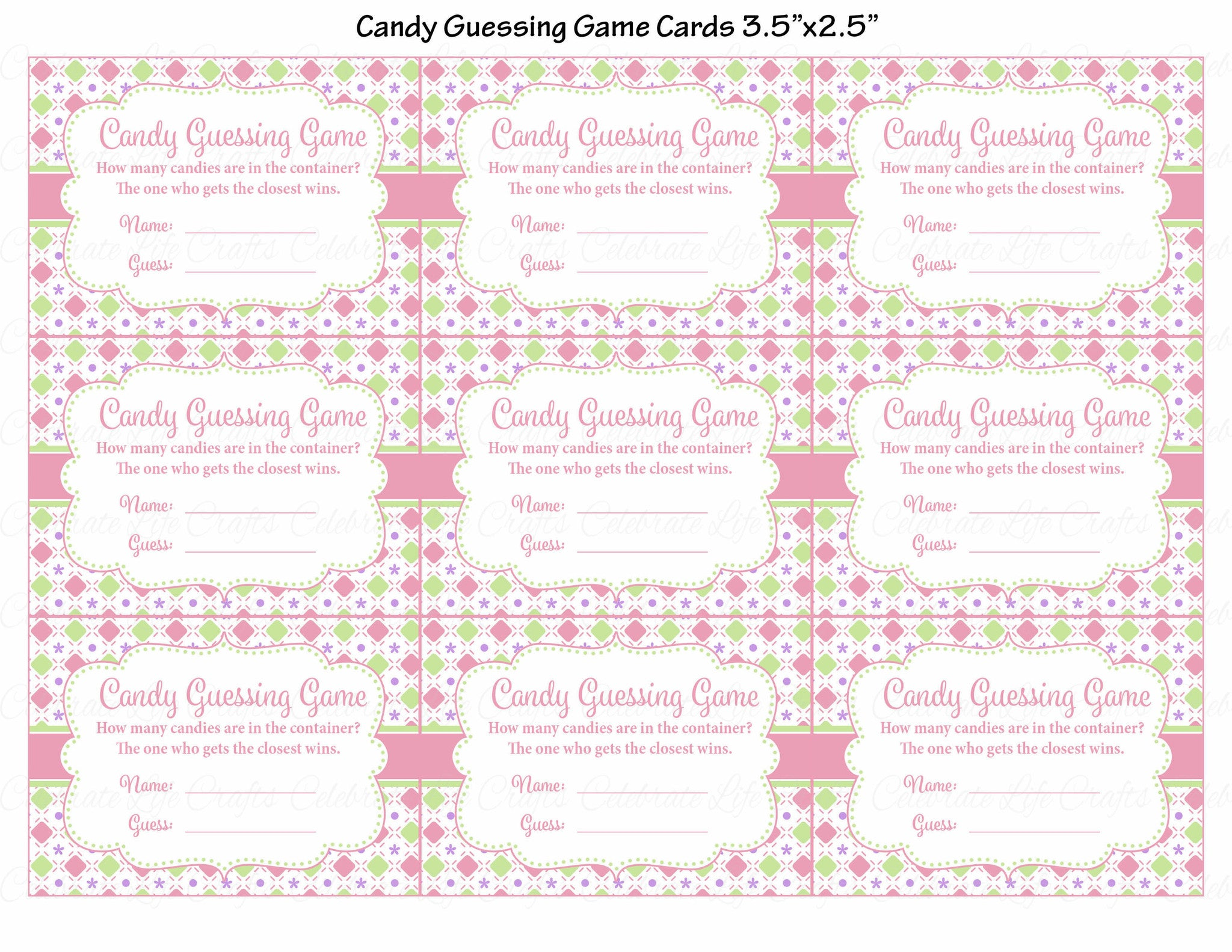 photo about Guess Who Game Printable called Sweet Guessing Activity - Printable Obtain - Purple Inexperienced Little one Shower Activity - B2010