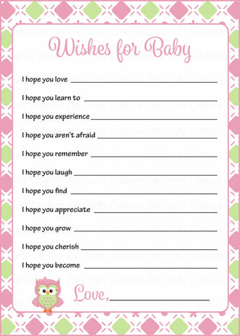 Wishes for Baby Cards - Printable Download - Pink & Green Baby Shower Activity - B2010