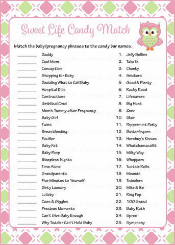 Sweet Life Candy Match Game - Printable Download - Pink & Green Baby Shower Game - B2010