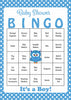 Owl Baby Bingo Cards - Printable Download - Prefilled - Baby Shower Game for Boy - Blue Polka