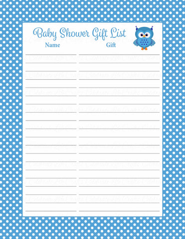 Baby Shower Gift List Set - Printable Download - Blue Polka Baby Shower Decorations - B2011