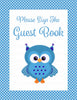 Baby Shower Guest List Set - Printable Download - Blue Polka Baby Shower Decorations - B2011