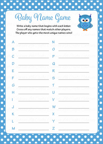 Baby Name - Printable Download - Blue Polka Baby Shower Game - B2011